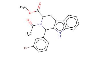 CC(=O)N1C(Cc2c3ccccc3[nH]c2C1c4cccc(c4)Br)C(=O)OC