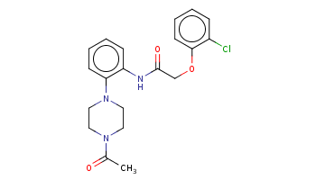 CC(=O)N1CCN(CC1)c2ccccc2NC(=O)COc3ccccc3Cl