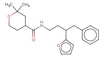 CC1(CC(CCO1)C(=O)NCCC(Cc2ccccc2)c3ccco3)C