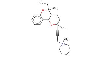CCC1(C2CCC(OC2c3ccccc3O1)(C)C#CC[N+]4(CCCCC4)C)C