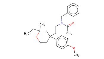 CCC1(CC(CCO1)(CCN(Cc2ccccc2)C(=O)C)c3ccc(cc3)OC)C