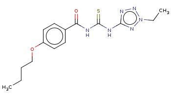 CCCCOc1ccc(cc1)C(=O)NC(=S)Nc2nnn(n2)CC