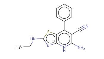 CCNc1nc2c(s1)c(c(c([nH+]2)N)C#N)c3ccccc3