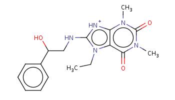 CCn1c2c([nH+]c1NCC(c3ccccc3)O)n(c(=O)n(c2=O)C)C