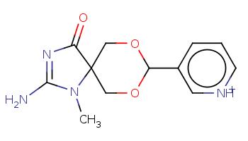 CN1C(=NC(=O)C12COC(OC2)c3ccc[nH+]c3)N