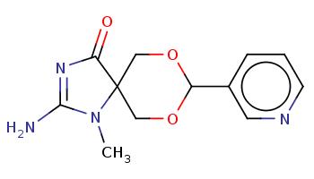 CN1C(=NC(=O)C12COC(OC2)c3cccnc3)N