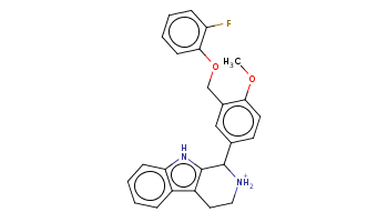 COc1ccc(cc1COc2ccccc2F)C3c4c(c5ccccc5[nH]4)CC[NH2+]3
