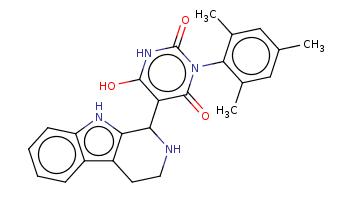 Cc1cc(c(c(c1)C)n2c(=O)c(c([nH]c2=O)O)C3c4c(c5ccccc5[nH]4)CCN3)C