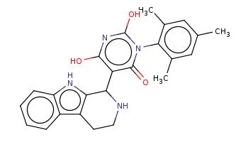 Cc1cc(c(c(c1)C)n2c(=O)c(c(nc2O)O)C3c4c(c5ccccc5[nH]4)CCN3)C