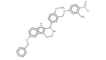 Cc1cc(ccc1[N+](=O)[O-])OCc2cc(ccc2OC)C3c4c(c5cc(ccc5[nH]4)OCc6ccccc6)CCN3