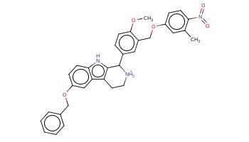 Cc1cc(ccc1N(=O)=O)OCc2cc(ccc2OC)C3c4c(c5cc(ccc5[nH]4)OCc6ccccc6)CC[NH2+]3
