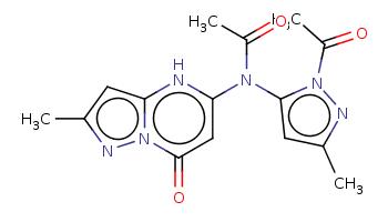 Cc1cc2[nH]c(cc(=O)n2n1)N(c3cc(nn3C(=O)C)C)C(=O)C