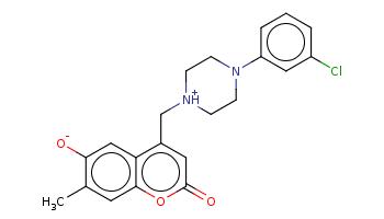 Cc1cc2c(cc1[O-])c(cc(=O)o2)C[NH+]3CCN(CC3)c4cccc(c4)Cl