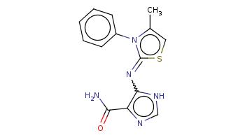 Cc1csc(=Nc2c(nc[nH]2)C(=O)N)n1c3ccccc3