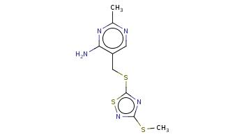 Cc1ncc(c(n1)N)CSc2nc(ns2)SC