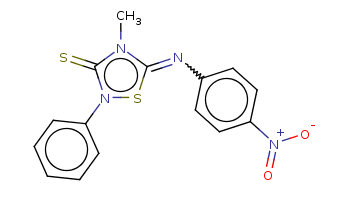Cn1c(=Nc2ccc(cc2)[N+](=O)[O-])sn(c1=S)c3ccccc3