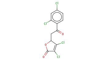 c1cc(c(cc1Cl)Cl)C(=O)CC2C(=C(C(=O)O2)Cl)Cl