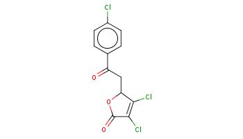c1cc(ccc1C(=O)CC2C(=C(C(=O)O2)Cl)Cl)Cl