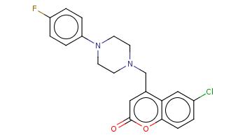 c1cc(ccc1N2CCN(CC2)Cc3cc(=O)oc4c3cc(cc4)Cl)F
