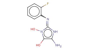 c1ccc(c(c1)N=c2[nH]c(c(n2O)O)N)F