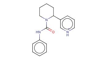 c1ccc(cc1)NC(=O)N2CCCCC2c3ccc[nH+]c3