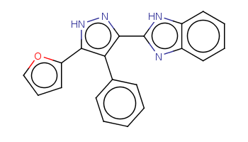 c1ccc(cc1)c2c([nH]nc2c3[nH]c4ccccc4n3)c5ccco5