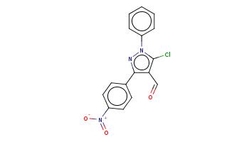 c1ccc(cc1)n2c(c(c(n2)c3ccc(cc3)[N+](=O)[O-])C=O)Cl