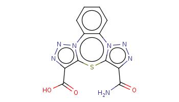 c1ccc2c(c1)n3c(c(nn3)C(=O)N)sc4n2nnc4C(=O)O